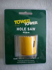 40mm HOLESAW BI-METAL BY TOWER. HOLE SAW  FOR STEEL, WOOD PLASTIC ETC. TOP QUALL