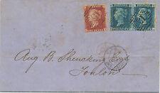 2476 1860 QV 2d blue Pl.8 pair (BK-BL) + 1d rose-red perf. 14 (EK) LATE FEE cvr
