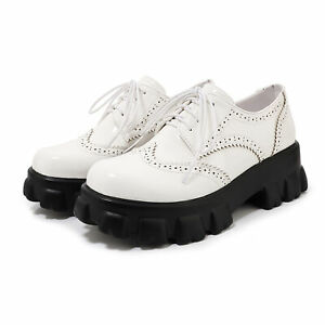 Women's Block Mid Heel Casual Lace Up Platform Round Toe  College Shoes 44 45 D