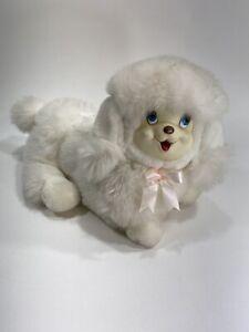 Rare Vintage Dan Dee Plush White Cat Poodle Stuffed Animal Rubber Face Antique
