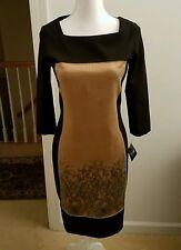 HELIOS & LUNA Dress size 2 NEW $350 Nylon Spandex with Silk Colorblock Sheath