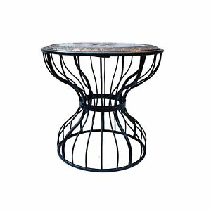 Indian Antique Style Wooden and Wrought Round Shape Tea Coffee &Bedroom Table
