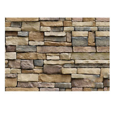 Retro 3D Slate Brick Pattern Faux Stone Effect Textured Wallpaper Living Room