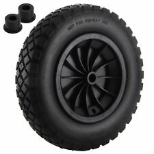 "PU 14"" Black Puncture Proof Solid 3.50-8 WHEELBARROW Wheel complete with Axle"