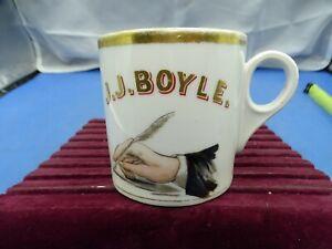 Vintage Ceramic Shaving Mug Hand W/ Quil Pen J.J. Boyle.