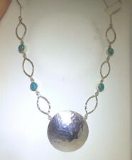 BEATEN STERLING 925 SILVER CABOCHON TURQUOISE PENDANT NECKLACE