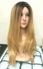 Dark Blonde, Human hair wig, ombre, Brown roots, long, golden blonde