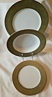 3 PIECE PLACE SETTING SANGO VERSAILLES GREEN & GOLD DINNER + BREAD PLATES +BOWLS