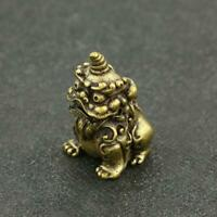 Chinese Antique Brass Mythical Animals Small Statue Ornament Lucky Pocket Gift