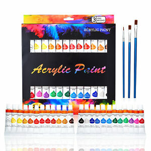 Acrylic Paint Set Tube 24 x 12ml. 3 Free Brushes Perfect For Canvas,Wood,Ceramic