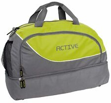 BRUBAKER 30 L Sports Duffel Bag Gym Bag Grey Green with Wet + Shoe  Compartment fd427dfd82
