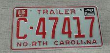 C-47417 North Carolina trailer Vintage License Plate tag vanity