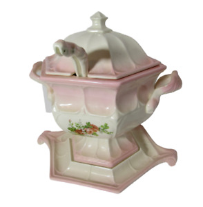 Vintage Floral Soup Tureen Pinkish and White ones w Ladle Underplate and Cover