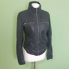 Converse Womens 100% Leather Jacket Size Small UK 10 Black Distressed Biker
