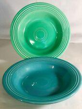 2 Vintage Fiesta Soup Bowls (Deep Plate) Turquoise & Light Green