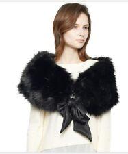 Wide Faux Fur Collar Scarf Party Shawl Wrap ( Black)