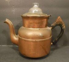 Vtg. Royal Rochester Copper Pot Kettle W/Spout & Lid Wood Handle Patina Decor