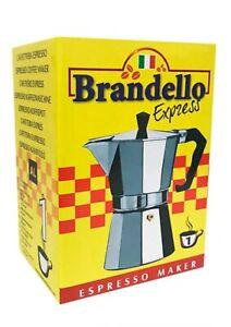 Brandello aluminum Espresso Coffee Maker 1 cup Silver Stovetop moka pot