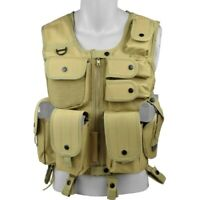 GILET TATTICO SOFTAIR ASSAULT TAN 8 TASCHE CON FONDINA H4191T AIRSOFT VEST