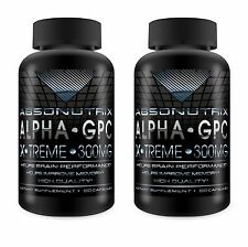 2 BOTTLES Absonutrix ALPHA GPC Xtreme 300mg Nootropic Brain Memory 60 Pills 2X