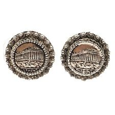 Old Estate Circa 1910  Marked 1000 Silver Acropolis of Athens Clip On Earrings