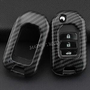 FOR Honda 2013-2019 Carbon Fiber Hard Flip Key Fob Case Shell Cover Accessories