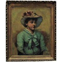 19th c. Victorian Portrait Oil Painting Girl Child Charles Knighton Warren