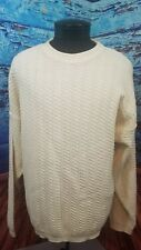 Mens Bill Blass knit ivory pullover casual sweater Large L made in USA