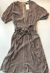 NWT Faithfull The Brand Farah Brighton Midi Dress Striped Print Brown US 8 Large