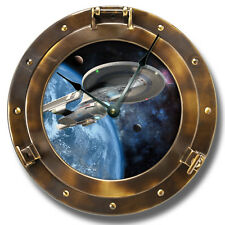 "10.5"" Spaceship Copper Porthole Wall Clock - Galaxy Home Wall Decor - 7140"