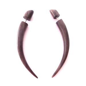 Taper Fake Gauge Earrings Carved Wood Split Plug Gothic Alternative Jewelry Gift