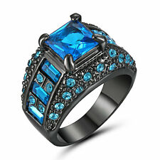 Size9 Aquamarine Sapphire 10KT black Gold Filled Women's Wedding Engagement Ring