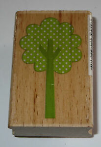 Tree Rubber Stamp Leaves Full Polka Dots Branches Wood Mounted EUC