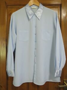 LADIES MARKS AND SPENCER BLUE LONG SLEEVED SHIRT SIZE 16 -  HOUSE CLEARANCE