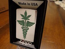 MEDICAL MARIJUANA WEED CANNABIS POT BRUSH CHROME ZIPPO LIGHTER MINT IN BOX