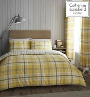 Catherine Lansfield Kelso Easy Care Quilt/Duvet Cover Collection Ochre & Grey