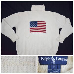 Ralph Lauren Men's Cashmere Turtleneck Sweater Cream American Flag Size Medium