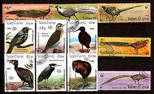 LAOS  serie complete 6 T +5 oblit: Faisans ,oiseaux de Nlle Zelande 1m184t6