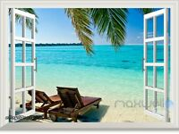Tropical Beach Ocean Palm 3D Window View Removable Sticker Wall Decals Decor Art