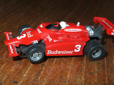 TYCO Budweiser beer Indy F-1 car, 440 chassis cleaned, silicon  ho afx Tomy