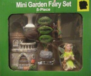 True Living Outdoor Mini Garden Fairy Set 5 pc Decor Planters Pots Flower Beds