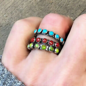 Fashion 925 Silver Rings for Women Turquoise Wedding Jewelry Ring Gift Size 5-11