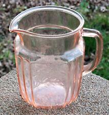 Vintage Anchor Hocking Pink Depression Glass Mayfair Open Rose Pitcher. 37oz.