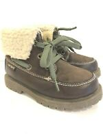 Carters Youth Size 9 High Top Boots Brown Faux Fur Top Rugged Soles