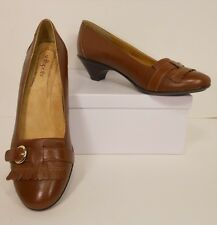NIB Softspots Brown Cognac Leather Loafers Heels Pumps Shoes 10 Narrow (S201)