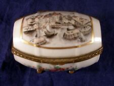 Antique Limoges for Ovington Bros Hand Decorated Marseilles Port Trinket Box
