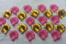 100 X Rosa Y Oro Seda Pétalos De Rosas Bautizo Confetti Mesa Decoración