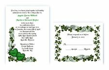 100 Personalized Custom Irish Shamrock Clover Bridal Wedding Invitations Set