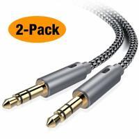 2 Packs Calidad Sonido Alta Fidelidad 3.5MM Cable Audio Auxiliar Trenzado Nylon