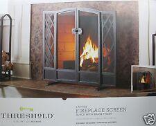 "Threshold Lattice Black w/Brass Finish Fireplace Screen 35""H x 39""W x 9 3/4"" D"